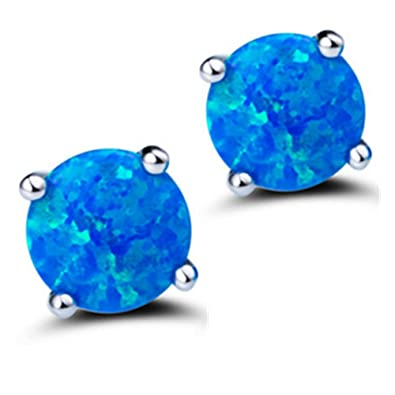 Mannli Sterling Silver Round Opal Birthstone Stud Earrings Jewelry for Women Girl White Blue Green Fire 8mm CaPAk9