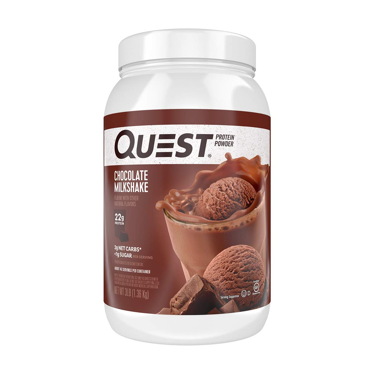 Quest Nutrition Chocolate Milkshake Protein Powder, High Protein, Low Carb, Gluten Free, Soy Free, 3 Pound