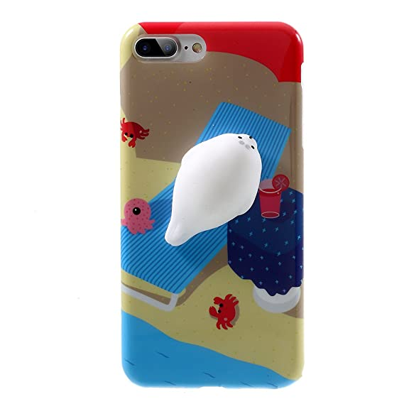 online store e90dd 501f4 Squishy Seal iPhone 7 Plus Case, 3D Cute Soft Silicone Poke Squishy Cat  Phone Back Cover for iPhone 7 Plus