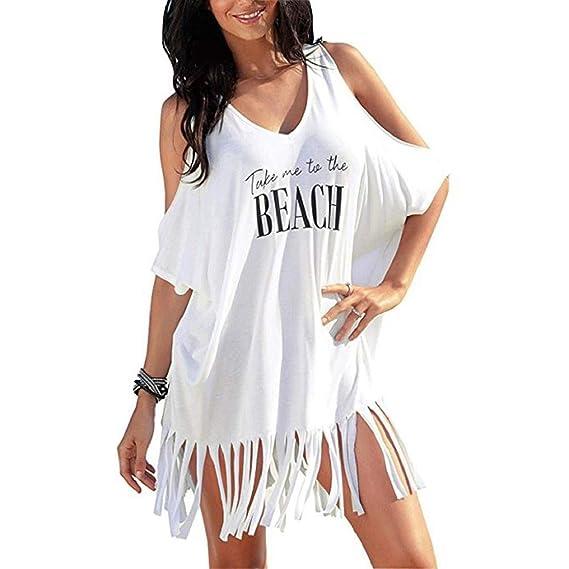 Vestido Blusa Borla Mujer Algodón De Heekpek Hombro Fuera Playa CoBQWdErxe