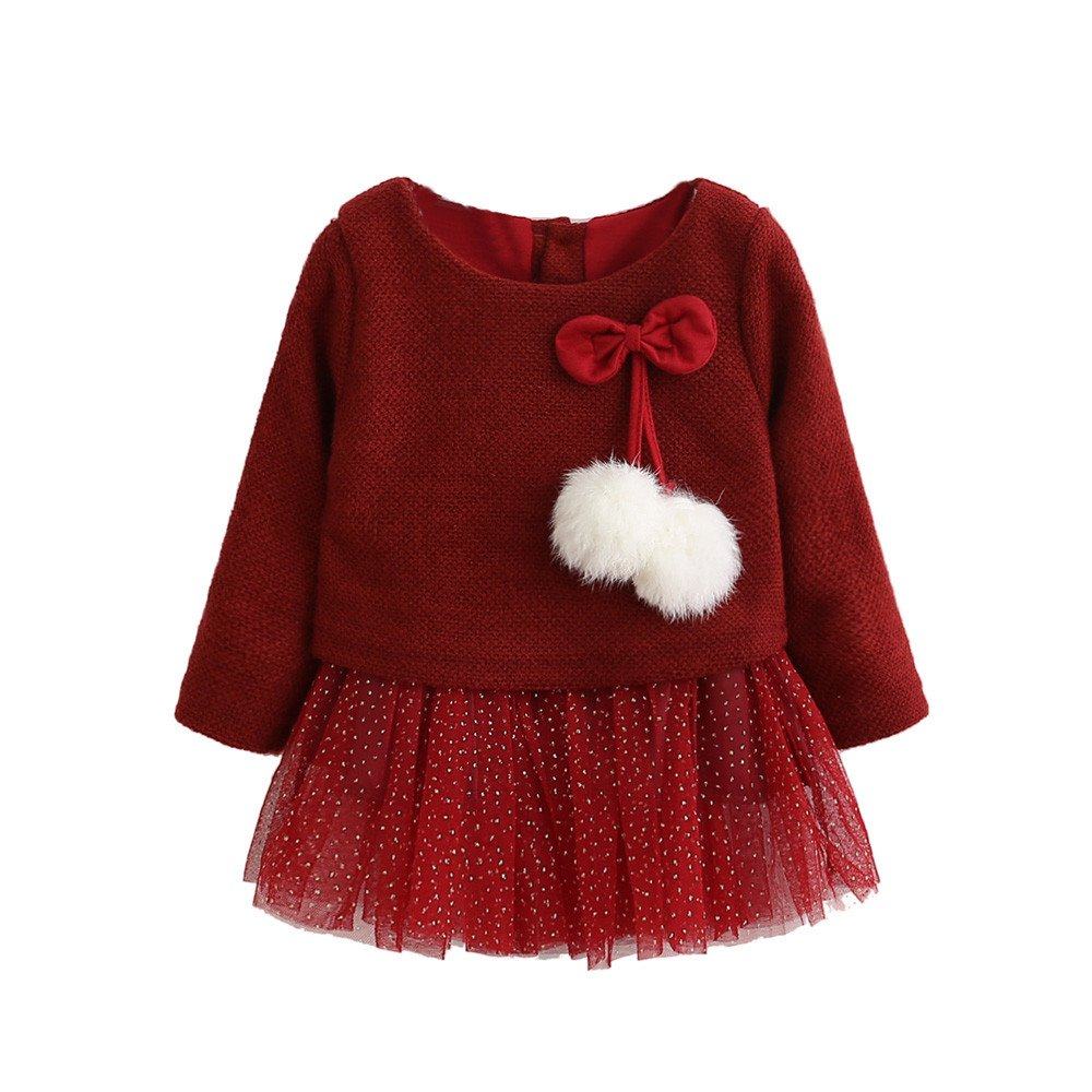 Baby Girls Long Sleeve Knitted Bow T-Shirt Dress for 0-24 Months Infant Birthday Christening Party Lace Tutu Dress Baptism Wedding One-Piece Xmas Gown