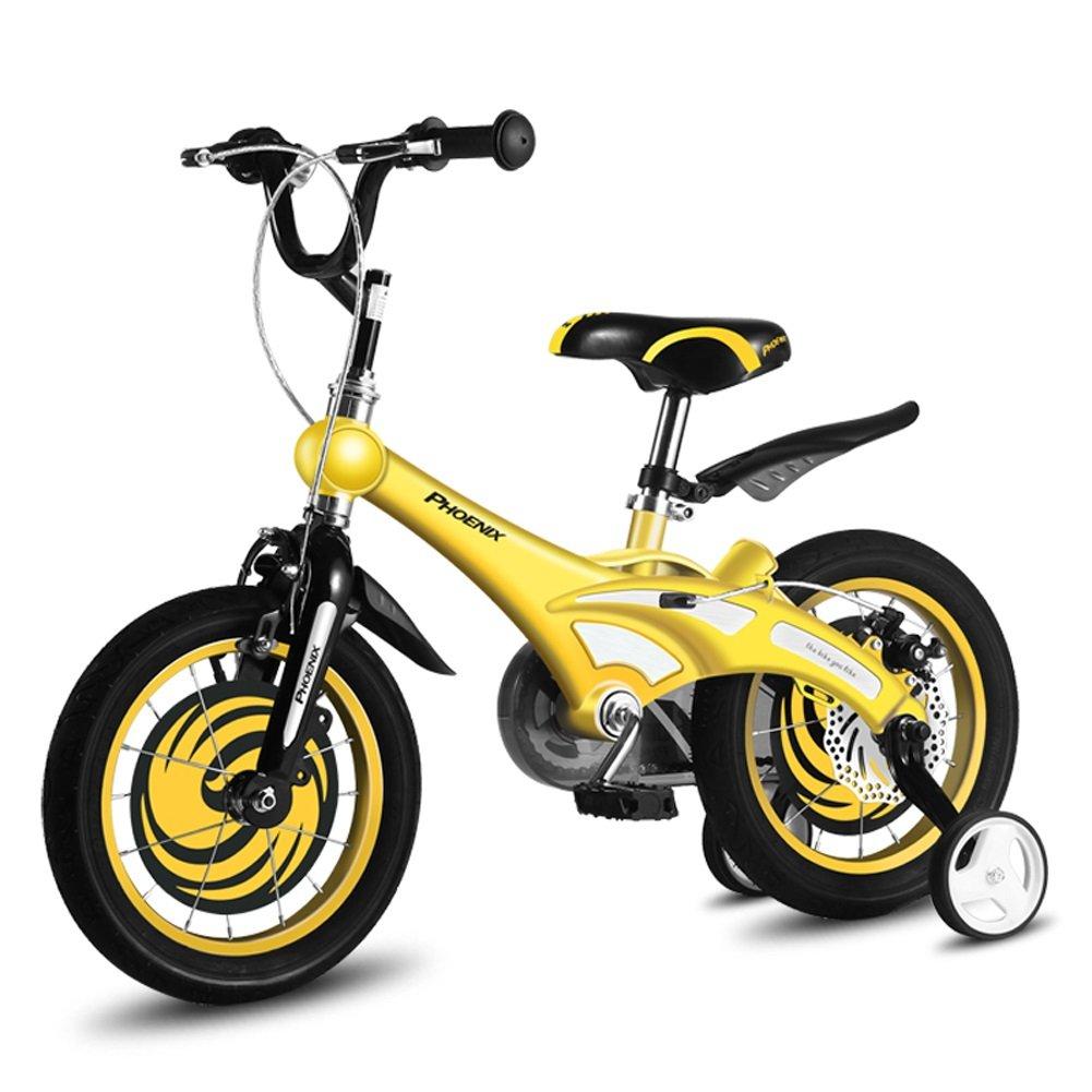 CHS@ 子供用自転車2-4-6-8歳の自転車12/14/16/18インチベビーキャリッジユニセックス子供用サイクリング 子ども用自転車 (色 : イエロー いえろ゜, サイズ さいず : 16