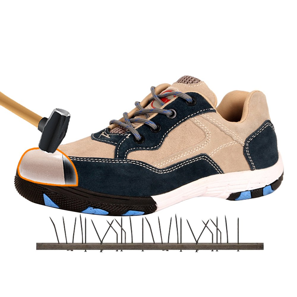 AiChuang Unisex Fashion Steel Toe Shoes Durable Breathable Anti-Smashing Safety Shoes (8.5, zx12)