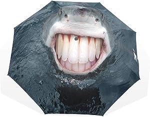 HangWang Umbrella Shark Animals Teeth Travel Golf Sun Rain Windproof Umbrellas with UV Protection for Kids Girls Boys