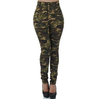malucas Damen Jeans Hose Hochbund Röhre Camouflage Armee