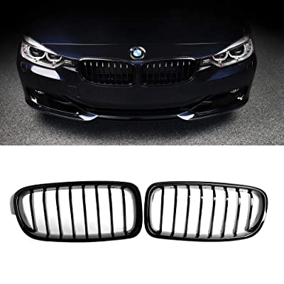 SNA ABS F30 Grill, Front Kidney Grille for 2012-2020 BMW 3 Series F30 F31 (Single Slat Gloss Black Grill, 2-pc Set): Automotive