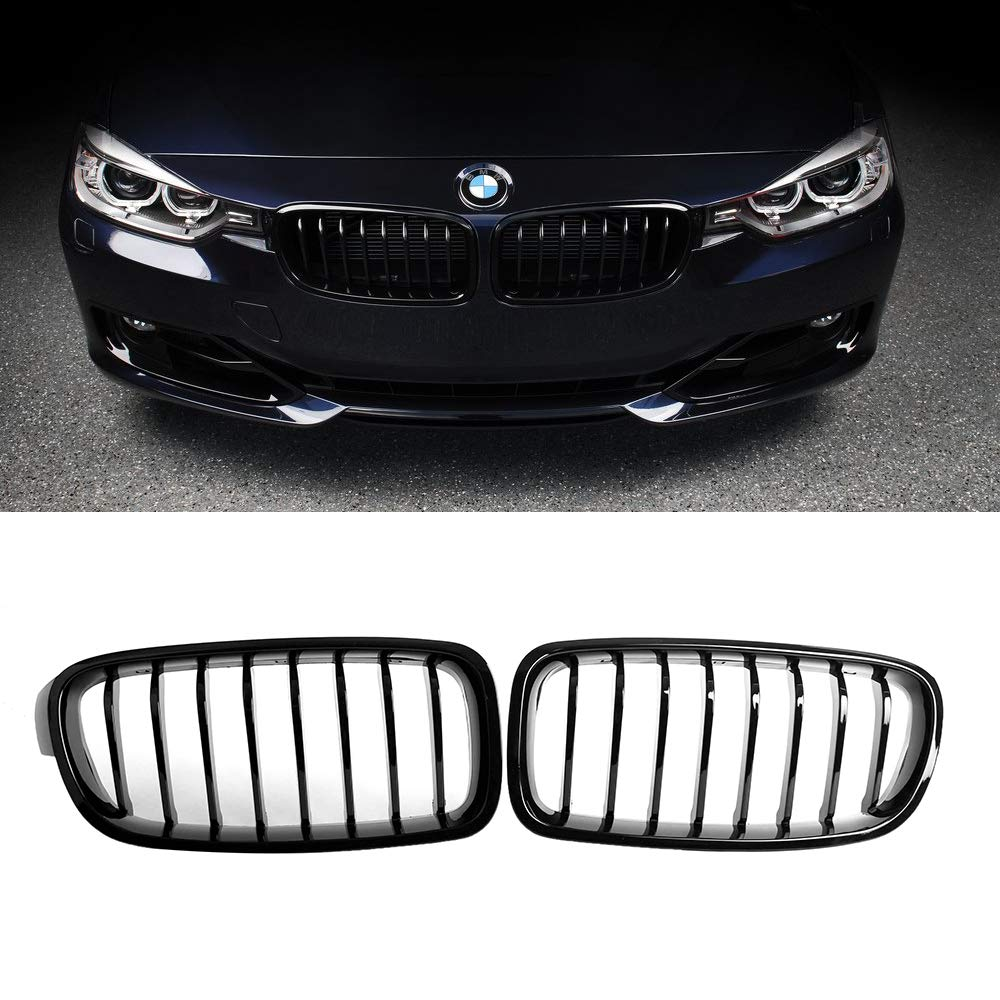 2-pc Set SNA Gloss Black ABS Front Kidney Grille with Double Slats Mesh Grill Compatible for BMW 3 Series F30 F31 2012-2018