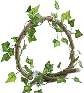 HEEPDD Reptile Vines, 3.28ft Artificial Reptile Climbing Branch with Suction Cups Flexible Jungle Rattan with 6.89ft Long Vine Habitat Decor for Gecko Chameleon