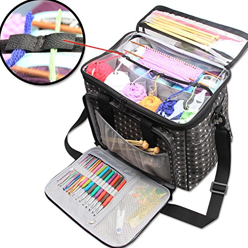 Teamoy Knitting Bag, Yarn Tote Organizer with Inner Divider (Sewn to Bottom) for Crochet Hooks, Knitting Needles(up to 14