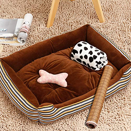 Glashaus Kennel four di pet mat small medium large dog golden Retriever dog supplies bed cat litter winter, coffee line, 90CM