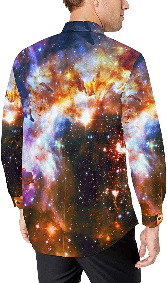 INTERESTPRINT Mens Slim Fit Long Sleeve Casual Button Down Dress Shirt Colorful Galaxy Space