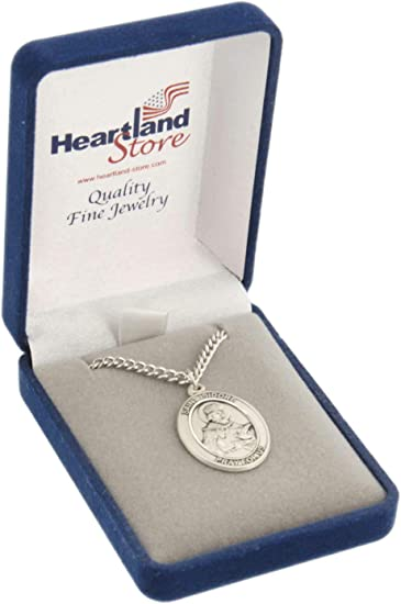 18 Rhodium Plated Clasp Chain St 3//4 tall Lucy Medal in Fine Pewter