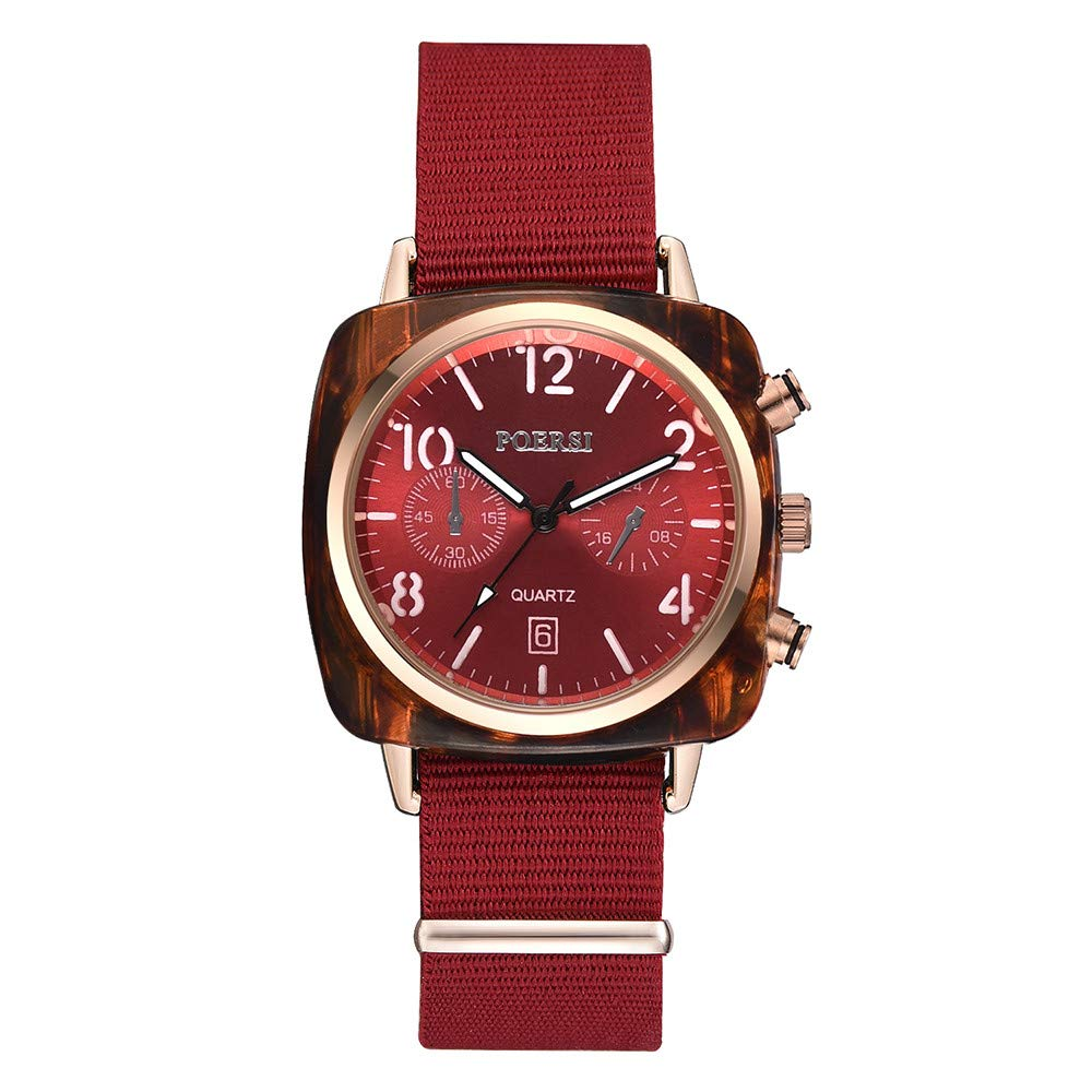 Hotkey Mens Casual Watches Clearance Mens Temperament Square Dial Canvas Watchband Watch Analog Quartz Watch