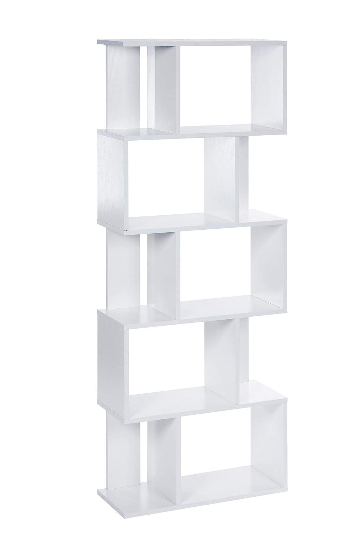 ts-ideen Libreria Mensoliera 160, 5x60 cm color Bianco con 10 vani 13029
