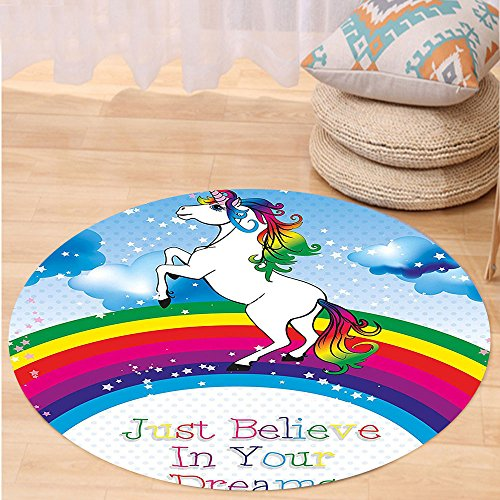Kisscase Custom carpetKids Unicorn Surreal Myth Creature before Rainbow Clouds Star Fantasy Girls Fairytale Image for Bedroom Living Room Dorm Multicolor