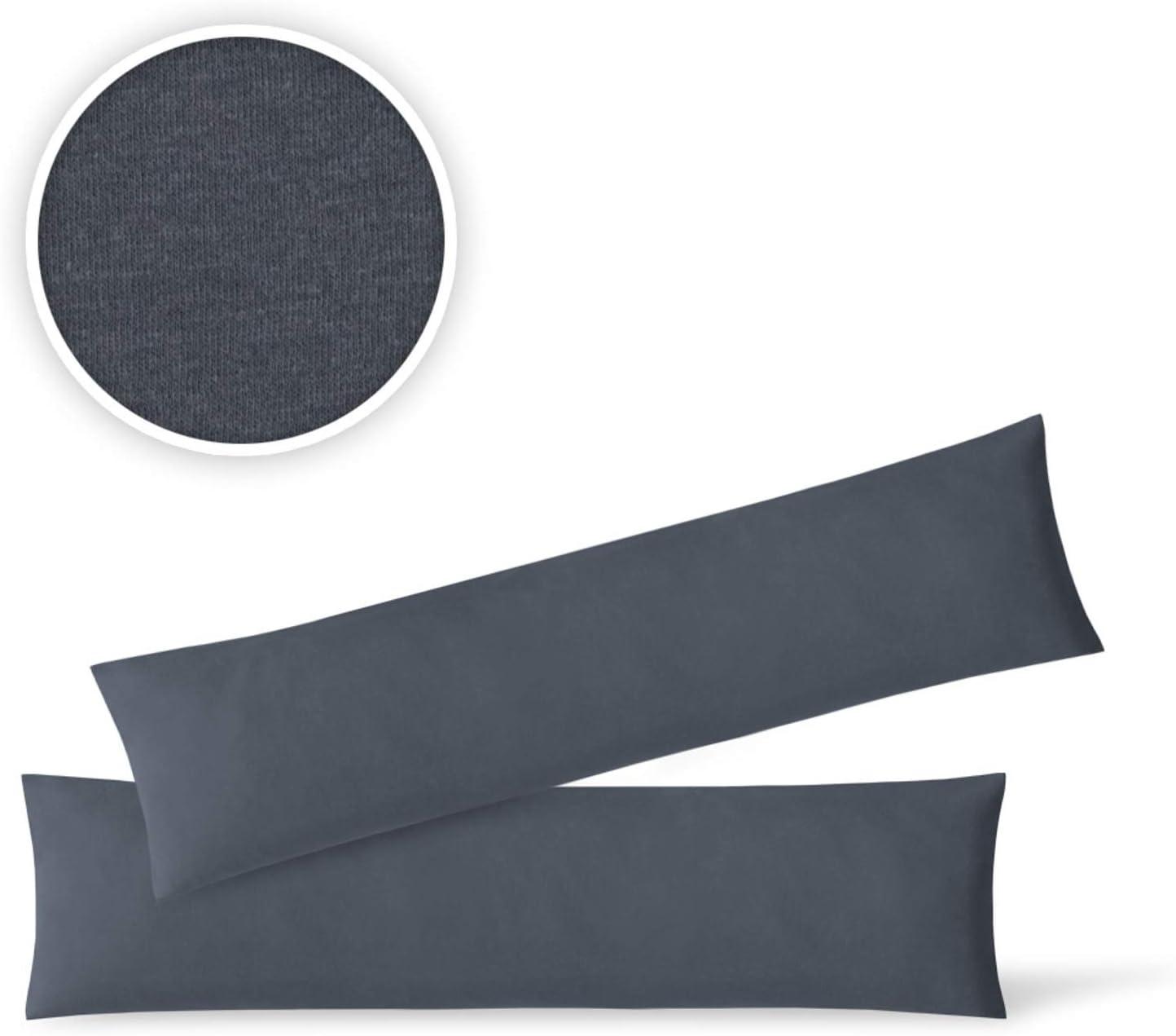 EXKLUSIV HEIMTEXTIL Federe per Cuscino in Jersey Confezione da 2 Pezzi con Cerniera di Alta qualit/à 40 x 145 cm Antracite