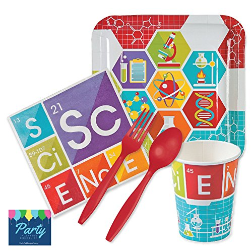 Science Party Supplies - Tableware for 16 Guests - includes Dinner Plates, Dessert Plates, Napkins, 16oz Cups, (Science Birthday Party Ideas)