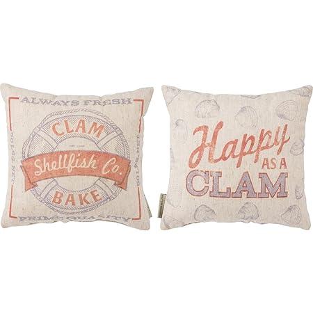 Primitives by Kathy Vintage Feed Sack Style Clam Bake Throw Pillow, feedsack