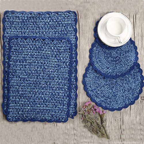ZORJAR Placemats Handmade Mixed Color Cotton Table Mats Placemats,Set of 5(Light (Light Blue Placemat)