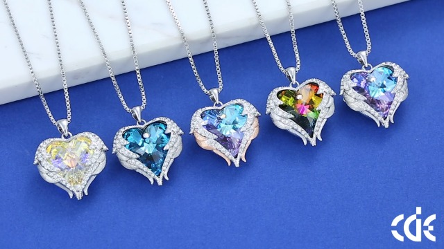CDE Angle Wing Love Heart Necklaces for Women Silver Tone/Gold Tone Pendant Jewelry Gifts for Mother/Wife/Sister