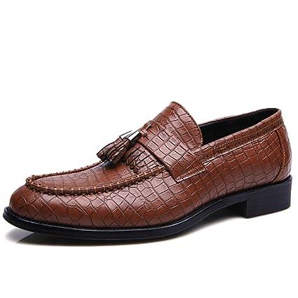 2018 Zapatos Hombre, Franja de Piel de Serpiente con Punta Suave de los Hombres con