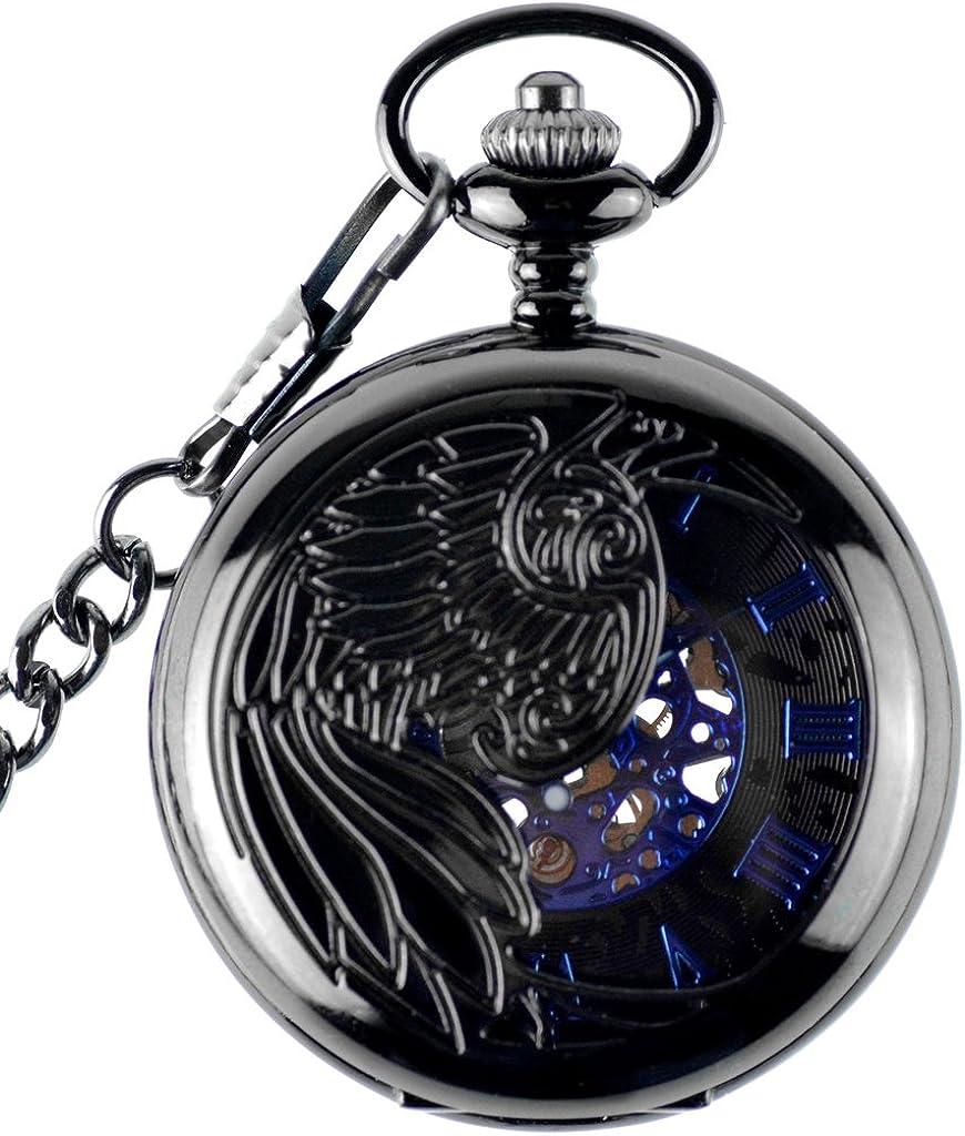Infinito U- Reloj de Bolsillo Hombre con Cadena Esqueleto Mecánico Steampunk Negro Números Romanos Collar Colgante de Acero