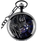 Infinite U Aigle/Ange/Phénix Bleu Chiffre Romains Cadran Mécanique Montre de Poche Squelette en Acier Pendentif Collier Noir