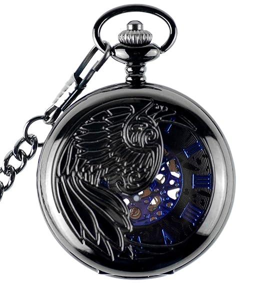 Infinito U- Reloj de Bolsillo Hombre con Cadena Esqueleto Mecánico Steampunk Negro Números Romanos Collar Colgante de Acero: Amazon.es: Relojes