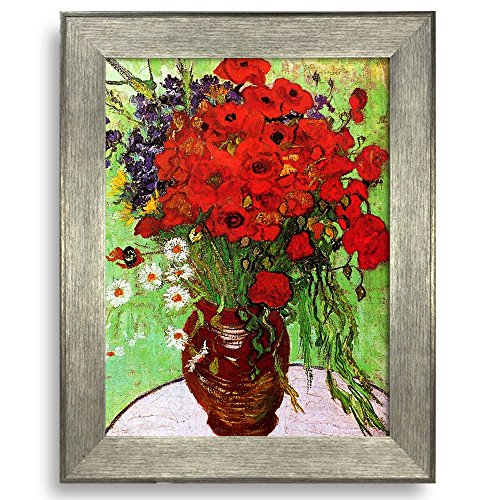 Framed Art Still Life: Red Poppies and Daisies by Vincent Van Gogh Famous Painting Wall Decor Silver Frame