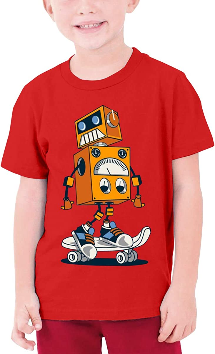 DUANIER Custom Personification Robot On Skateboard Funny T Shirts Short Sleeve for Teenagers Black