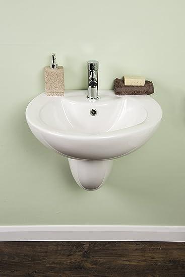 Waschtisch Waschbecken weiß Halbsäule Keramik Design: Amazon.de ...