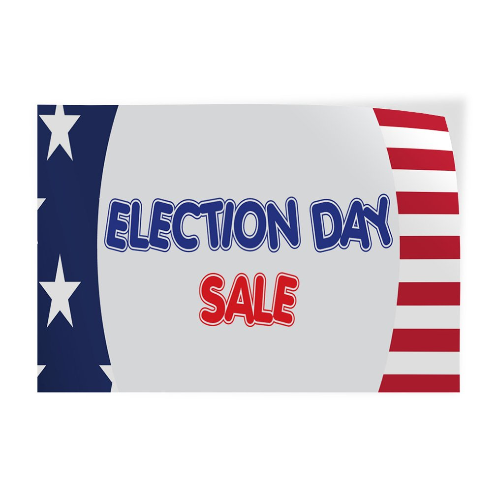 Decal Sticker Multiple Sizes Election Day Sale Business American Flag Outdoor Store Sign White 42inx28in Set of 5