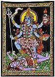 Gangesindia Goddess Kali Mata - Sequin Decorated Cloth Print Wall Decor