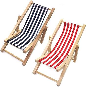DHIMOG 1:12 Mini Stripe Silla Playa Plegable Simulación Madera ...