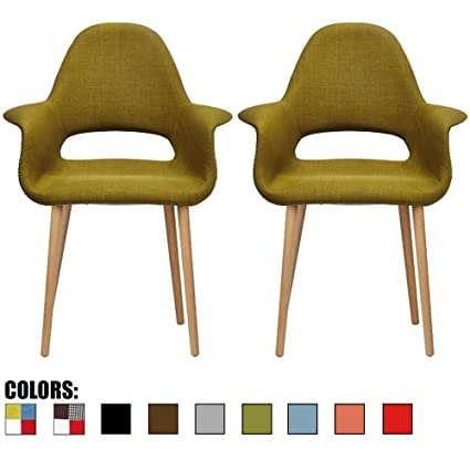 Amazon Com 2xhome Set Of 2 Green Mid Century Modern Upholstered