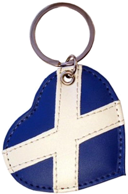 予約販売 Scottish Saltire Leather Leather stitched Heart shaped B007OBK076 Keyring Blue shaped and White Colour B007OBK076, アットキレイ:8d0b8439 --- yelica.com