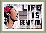 Alonline Art Life Is Beautiful Banksy Silver FRAMED POSTER (Print on 100% Cotton CANVAS on foam board) - READY TO HANG | 39''x27'' | Wall Art Pictures Oil Paintings Prints Frame Framed Print Giclee