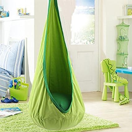 Child Swing Hanging Nest Seat Chair Green Outdoor Indoor kids Pod Hammock