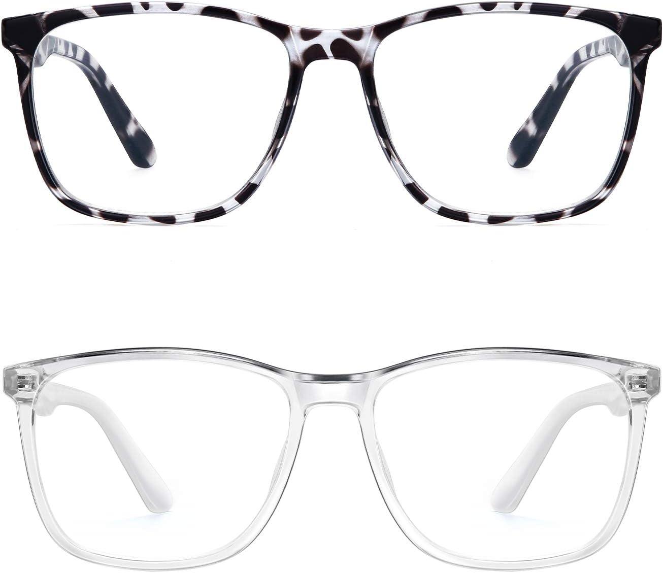 Blue Light Blocking Glasses Women/Men, PengSer Fashion Lightweight Frame Computer Eye Glasses Anti Eyestrain & UV Glare for Gaming & Reading, 2-Pack (Bean Flower & Clear)