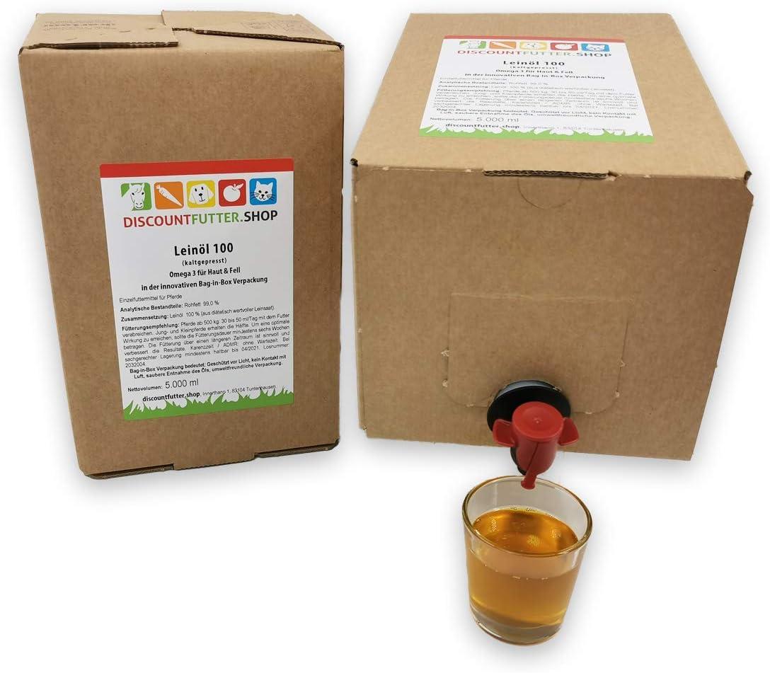 2 x 5 Liter NEU! discountfutter.shop Lein/öl 100 Bag in Box f/ür Pferde