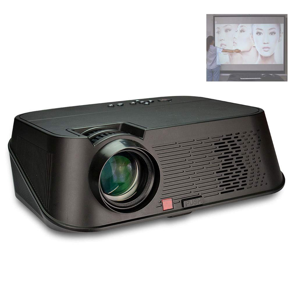LiChenYao HD Projector - 1080P Direct Investment High Resolution 3500 Lumen Mobile Phone Wireless Projection (Color : Black)