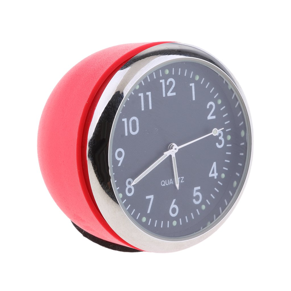 MagiDeal Car Dashboard Clock Table Classic Small Round Quartz Clock red Black