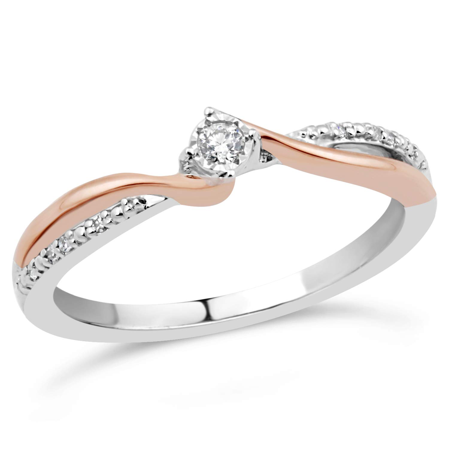 Diamond Promise Ring in Sterling Silver and 10k Rose Gold 1/10 cttw-Size 5