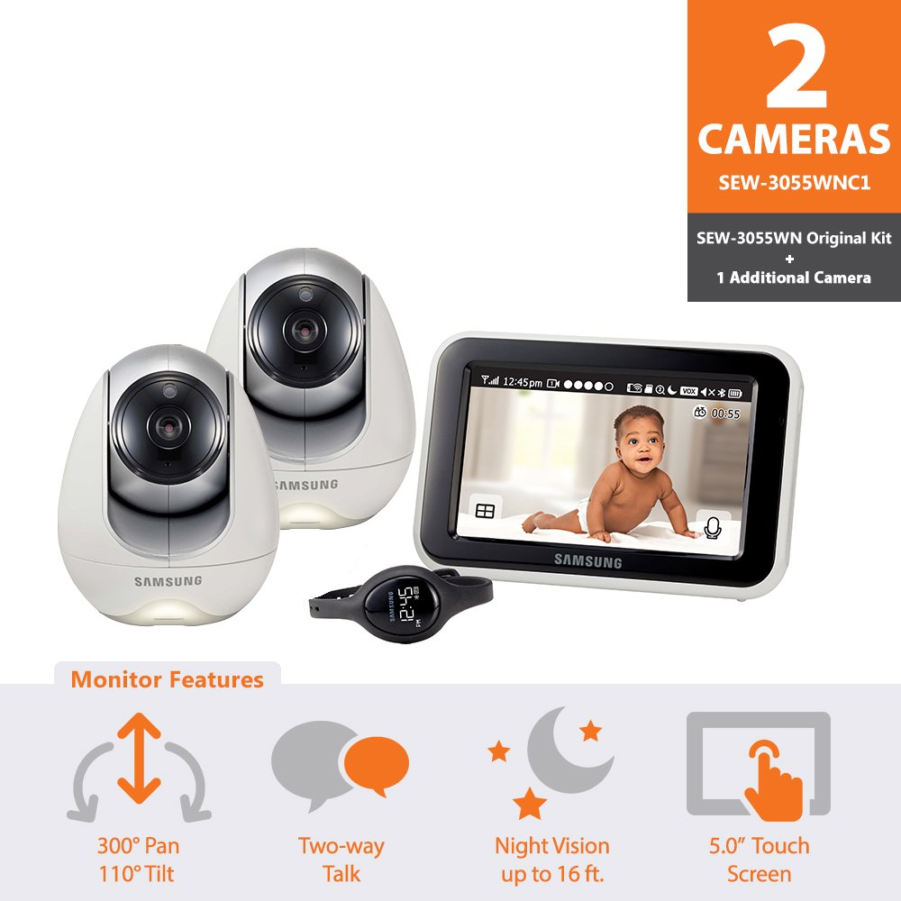Samsung Wisenet SEW-3055WNC1 BabyView Wi-Fi Remote Viewing Baby Video Monitoring System Including BabyView Watch with 1 Additional Camera