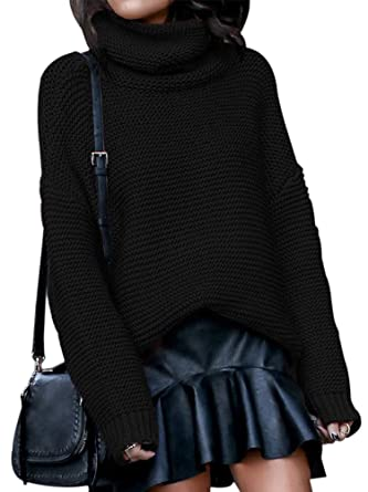 5576e8b9b36eb4 Allumk Women's Plain High Neck Long Sleeve Loose Fit Knitted Casual Top  Sweater Black Small