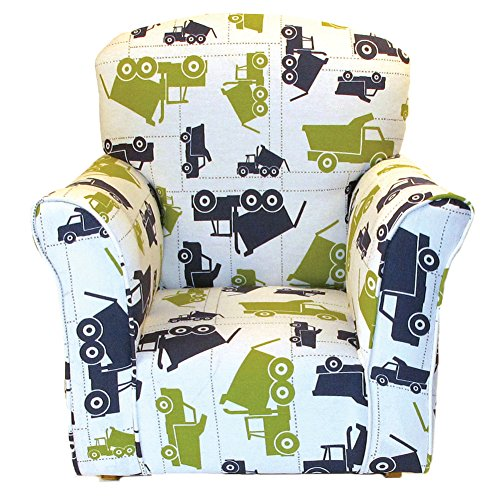 ure Dump Truck Print Toddler Rocker - Cotton Rocking Chair (Upholstered Childs Rocking Chair)