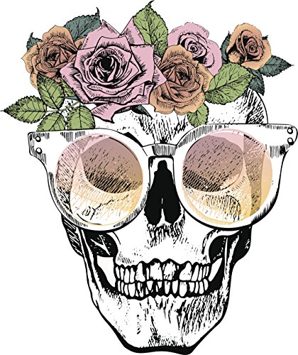 Happy Cute Girly Rose Floral Skull Drawing Vinyl Decal Sticker (4