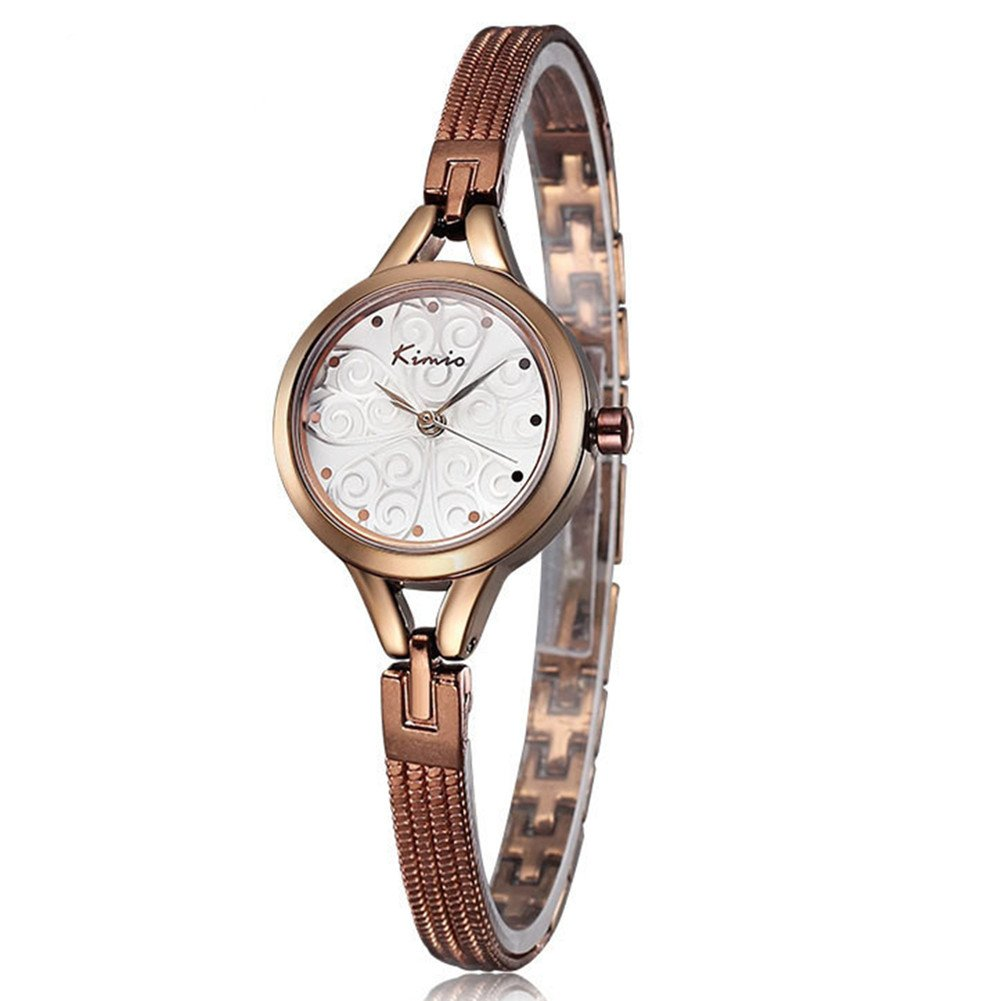 JIANGYUYAN Womens Girls Alloy Bracelet Strap Three-Dimensional Printing dial Wrist Watch Gold Coffee