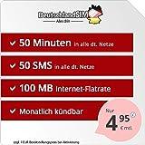 DeutschlandSIM SMART 50 [SIM, Micro-SIM und Nano-SIM] monatlich kündbar (100MB Internet-Flat, 50 Frei-Minuten, 50 Frei-SMS, EU-Ausland inklusive, 4,95 Euro/Monat) Vodafone-Netz