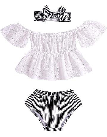 Luckycat Counjunto de Ropa bebé niña Verano, Conjunto de Encaje Camiseta con Volantes y Petos